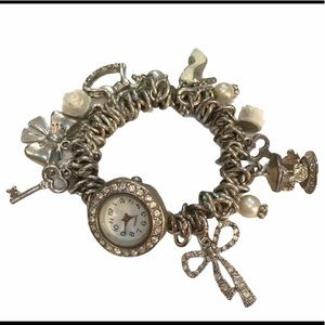 Vintage Silver Charm Bracelet Quartz Watch